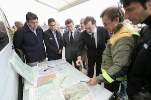 Feijóo acompañó a Rajoy en su visita al puesto de mando contra los incendios.