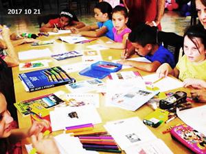 Pequeños asociados del Club Villarino participaron en el concurso de dibujo.