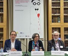 Anxo Lorenzo, Rosa Méndez y Carlos Villanueva en la presentación del simposio.