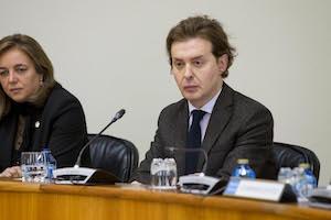 El director xeral de Relacións Exteriores e coa UE, Jesús Gamallo, durante su comparecencia ante la Comisión 1ª Institucional, de Administración Xeral, Xustiza e Interior sobre la Estratexia Galega de Acción Exterior (Egaex) en el Pazo do Hórreo.