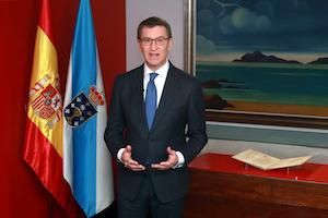 El presidente de la Xunta durante su discurso de Fin de Año ante el Pergamino Vindel.
