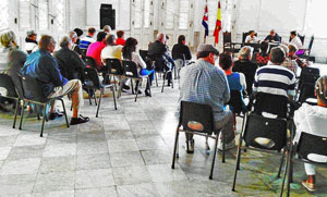 Vista parcial del salón de actos del antiguo Palacio del Centro Gallego de La Habana.