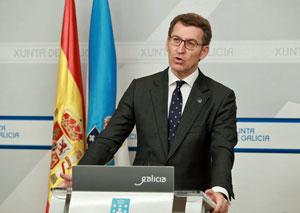 Alberto Núñez Feijóo en la rueda de prensa posterior a la reunión del Consello de la Xunta.