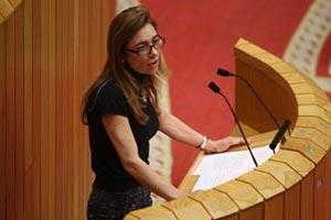 Marta Fernández Currás en el Parlamento.