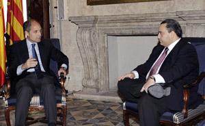 El president de la Generalitat, Francisco Camps, junto al gobernador del Estado de Quintana Roo, Roberto Borge.