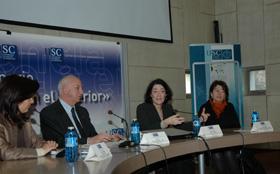 Pilar Pin, el rector de la Universidad de Santiago, Juan Casares, la secretaria de Estado, Anna Terrón, y la directora del CEA, María Xosé Rodríguez Galdo.