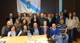 Santiago Camba con los representantes de los centros que acudieron a la reunión en Ginebra.