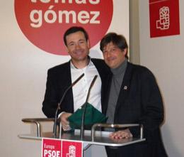 Tomás Gómez y Javier Moreno, secretario general del PSOE Europa.