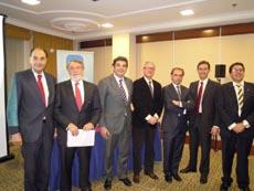 Los dirigentes del PP que participaron en el acto.
