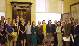 Anna Terrón y Pilar Pin con los directivos de las entidades españolas.