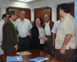 Guillermina Hernández se reunió con la nueva directiva del HCV, presidida por José Miguel Pérez Galindo.