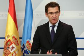 Alberto Núñez Feijóo en la rueda de prensa tras la reunión del Consello de la Xunta del jueves 14 de abril.