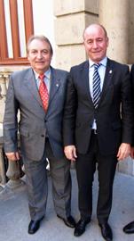 El presidente del Centro Gallego de México, Luis Piñeiro, y Santiago Camba.