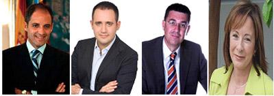 Francisco Camps, Jorge Alarte, Enric Morera y Marga Sanz.