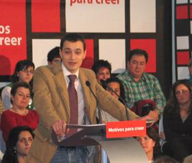 Marco Ferrara en un acto de la Federación Socialista Asturiana.