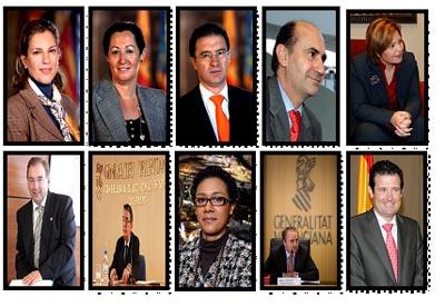 Paula Sánchez de León, Maritina Hernández, Serafín Castellano, Enrique Verdeguer, Isabel Bonig, Luis Rosado,  José Manuel Vela, Lola Jhonson, Jorge Cabré y José Ciscar.