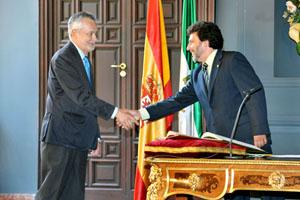 José Antonio Griñán en la toma de posesión del rector Juan Jiménez Martínez.