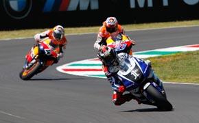 Jorge Lorenzo por delante de Casey Stoner y Andrea Dovizioso en el Gran Premio de Italia.