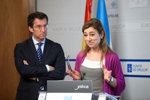 Alberto Núñez Feijóo y la conselleira de Facenda, Marta Fernández Currás, en rueda de prensa tras el Consello de la Xunta.