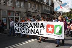Miles de personas asistieron a la manifestación del BNG en Santiago.