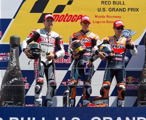 Lorenzo, Stoner y Pedrosa en el podio de Laguna Seca.