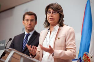 La conselleira de Mar, Rosa Quintana, en rueda de prensa.