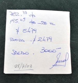 Otro ejemplo de lo rudimentario de la contabilidad que se llevaba.