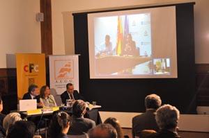 Roberto Kreimerman, Aurora Díaz y Jorge Expósito, en la videoconferencia.