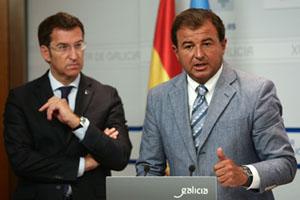 Alberto Núñez Feijóo y Javier Guerra tras el Consello de la Xunta.