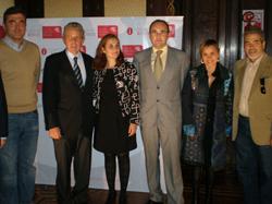 Cortés, Estrella, Sanclemente, Olmos, Pilar Garea (directora de la Fundación Españoles en el Mundo de Argentina) y Luis Herrera (consejero de Información de la Embajada de España).