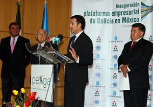 Alberto Núñez Feijóo  en la inauguración de la Plataforma Empresarial de Galicia en México.
