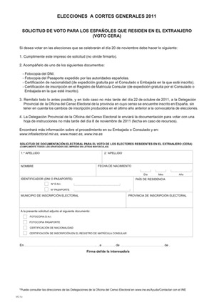 Reproducción de un formulario para la solicitud del voto CERA.