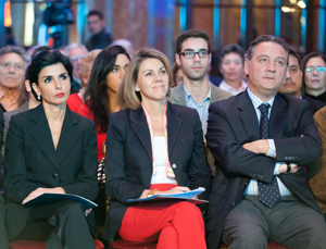La exministra del Gobierno francés, Rachida Dati, María Dolores de Cospedal y Alfredo Prada.