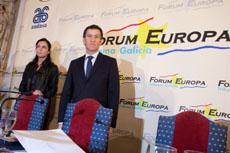 El presidente de la Xunta, Alberto Núñez Feijóo, en el Fórum Europa.