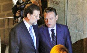 Mariano Rajoy con Alfredo Prada en la reunión de Santiago de Compostela.