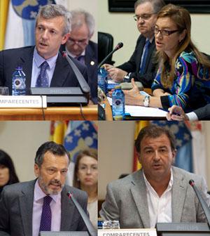 Rueda, Fernández Currás, Hernández y Guerra en sus comparecencias.