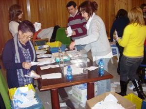 Escrutinio del voto emigrante en las elecciones gallegas de 2009.