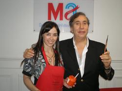 Nancy Torre junto al presidente del Centro de Madrileños, Francisco Puebla.