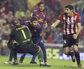 Javi Martínez celebra el segundo gol del Athletic.