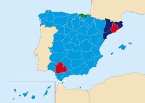 El mapa del poder 'popular': en azul las provincias con mayoría del PP, en azul oscuro las de CiU, en rojo las del PSOE y en verde las provincias en las que obtuvo mayoría Amaiur.