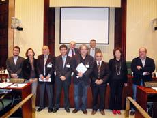 Representantes de la FIEC en el Parlamento catalán.