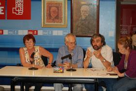 Ruisá́nchez, Mues y López durante la Asamblea Extraordinaria del PSOE en Buenos Aires.