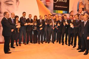La secretaria xeral de Turismo, Carmen Pardo, con Louzán y alcaldes.