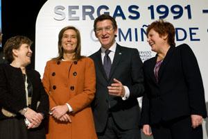 Ana Mato y Núñez Feijóo junto a Farjas y Mosquera en el aniversario.