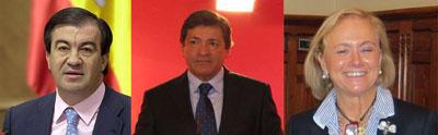 Francisco Álvarez Cascos, Javier Fernández y Mercedes Fernández.