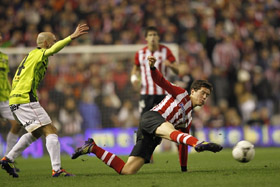 Un momento del partido entre el Athletic y el Mirandés.