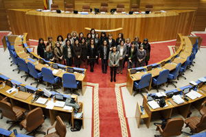 Pilar Rojo con las diputadas del PP y del BNG.