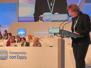 Carmen Sofía Diago Javois 'Carmiña', en su intervención ante las autoridades del partido y el plenario del Congreso.