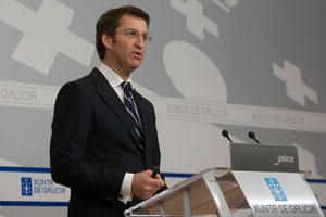 El presidente gallego, Alberto Núñez Feijóo, en la rueda de prensa posterior al Consello de la Xunta.
