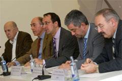 Los secretarios generales de Cultura y de Política Lingüística de la consellería, Anxo Lorenzo y Valentín García, respectivamente, y Alfonso Paz-Andrade presentaron la web.